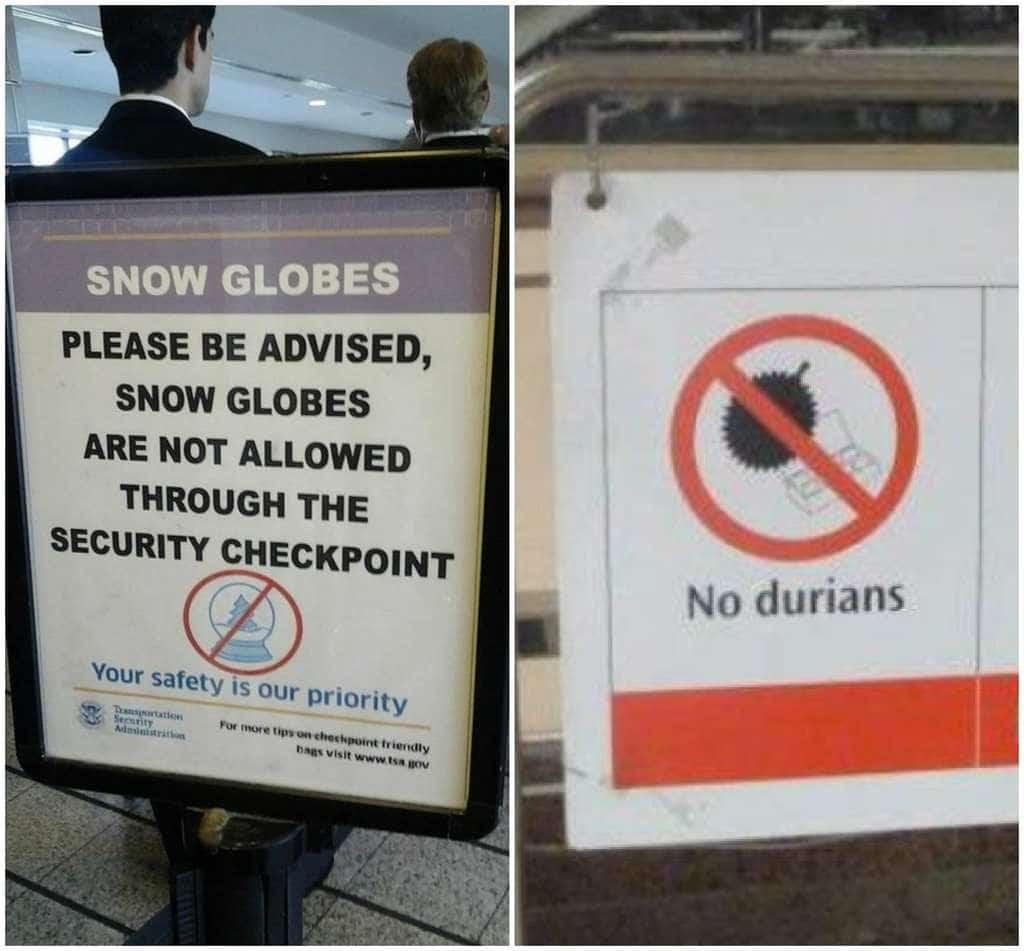 공항에서 금지되는 품목들