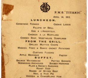 Il Menù del 14 Aprile 1912