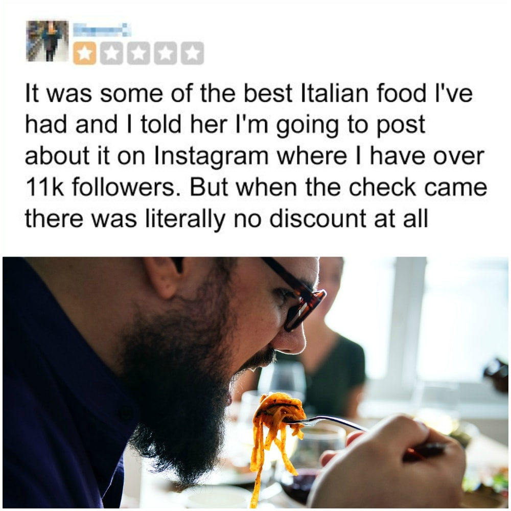 One Star Rating For Five Star Food