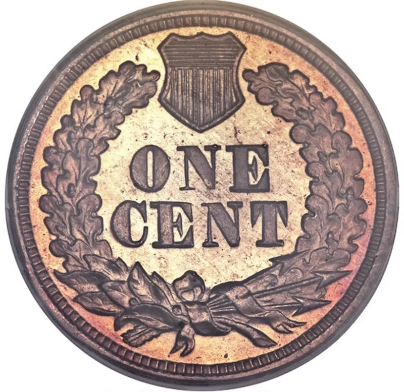 1864 Indian Head Penny With 'L' On The Ribbon Front Back