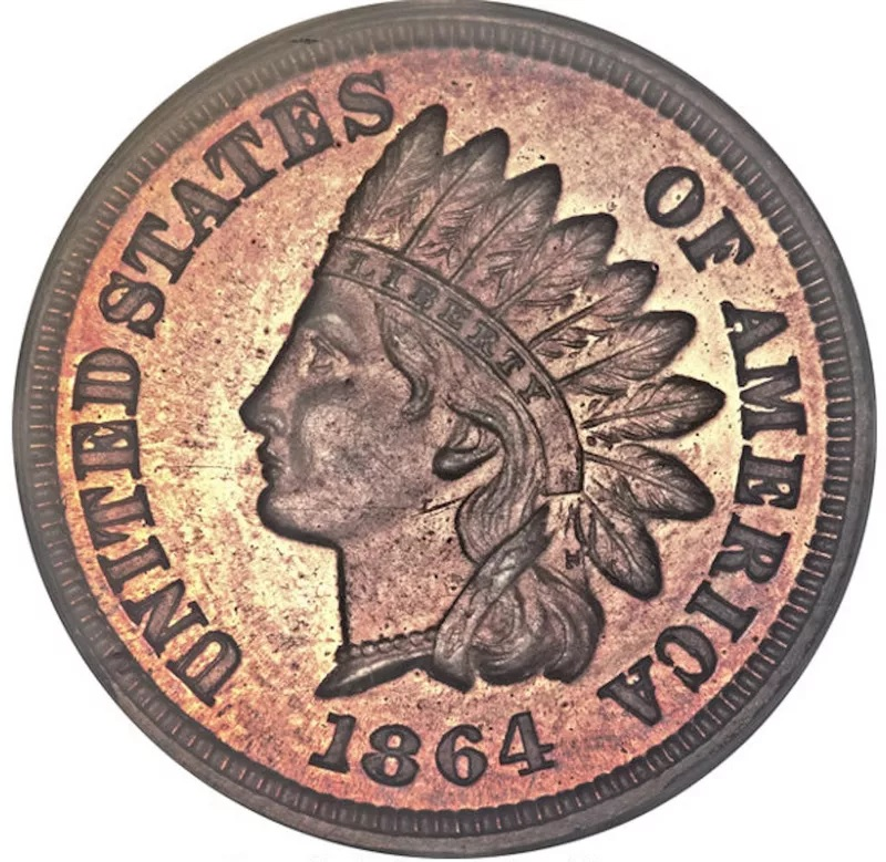 1864 Indian Head Penny With 'L' On The Ribbon Front