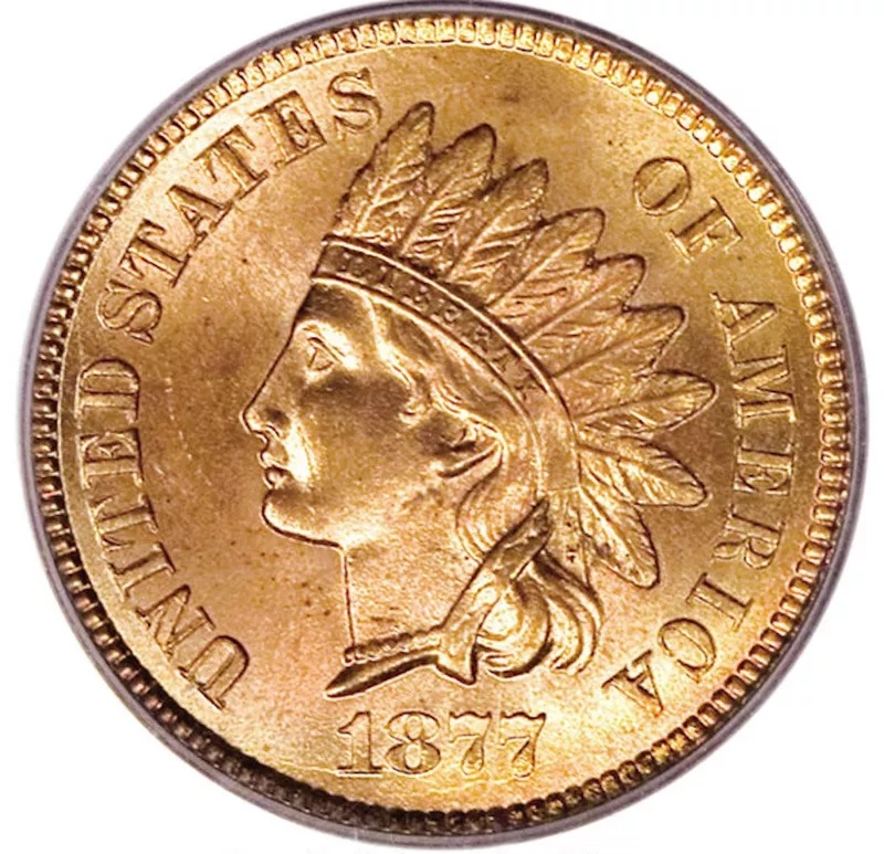 1877 Indian Head Penny Front
