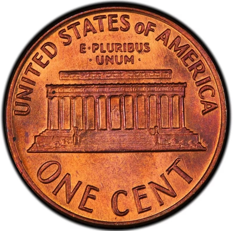 1969 S Lincoln Penny Doubled Die Obverse Back
