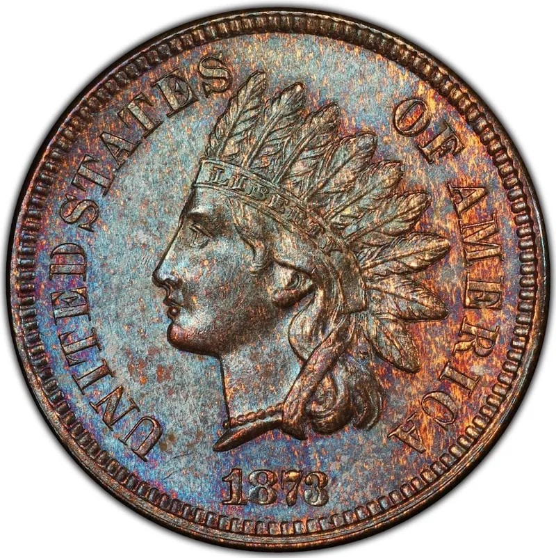 1873 Doubled 'Closed 3' Indian Head Penny Front