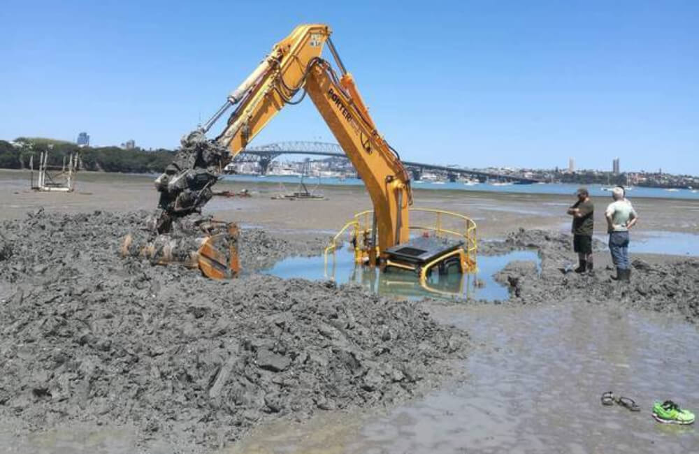 Huge Digger Stuck In The Sand