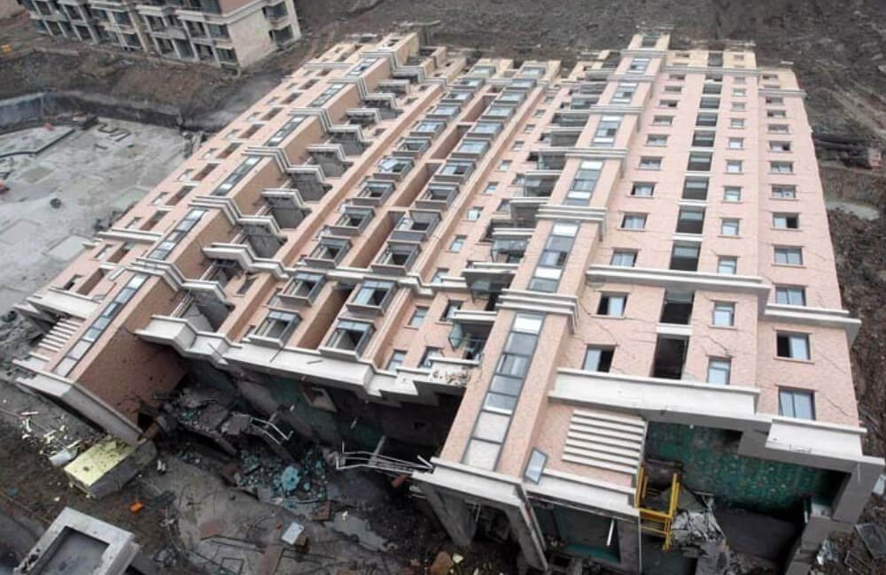 An Entire Apartment Block Topples Over