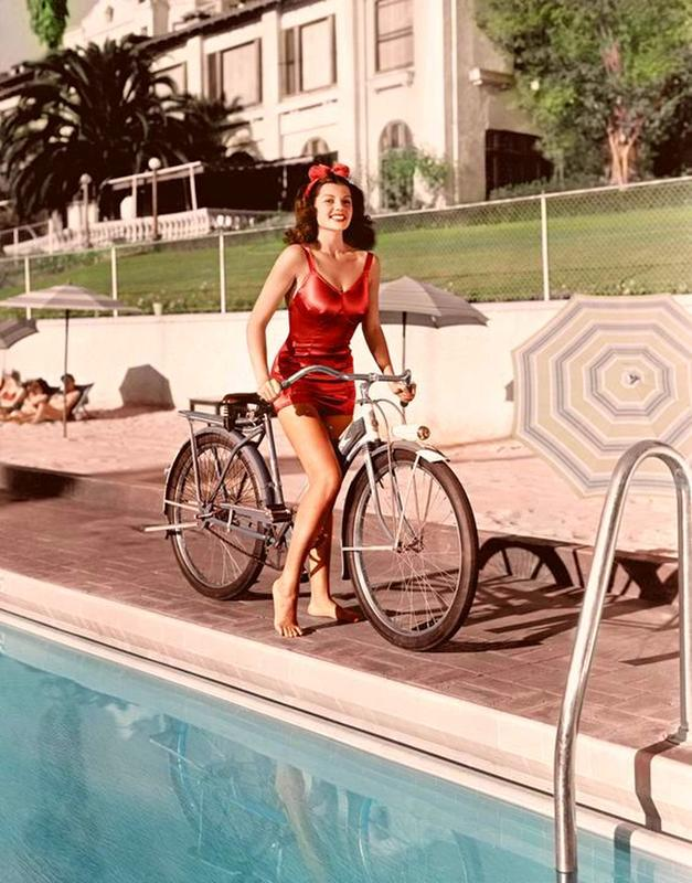 Rita Hayworth On A Bike At The Beverly Hills Hotel