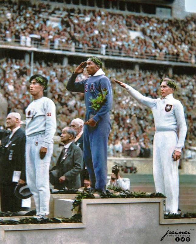 American Athlete Jesse Owens At The Presentation Of His Long Jump Gold Medal