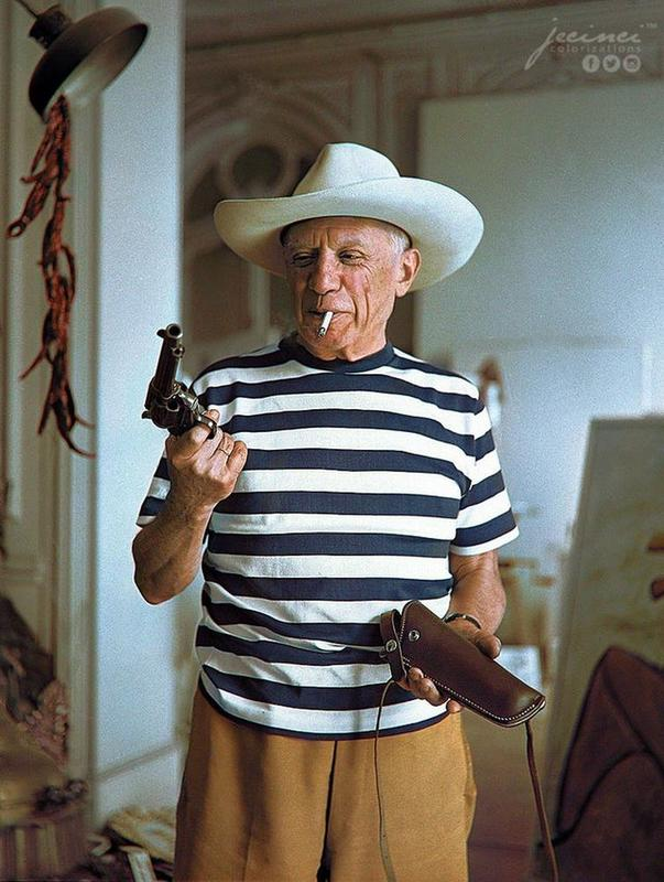 Pablo Picasso With Gifts From Gary Cooper In 1958