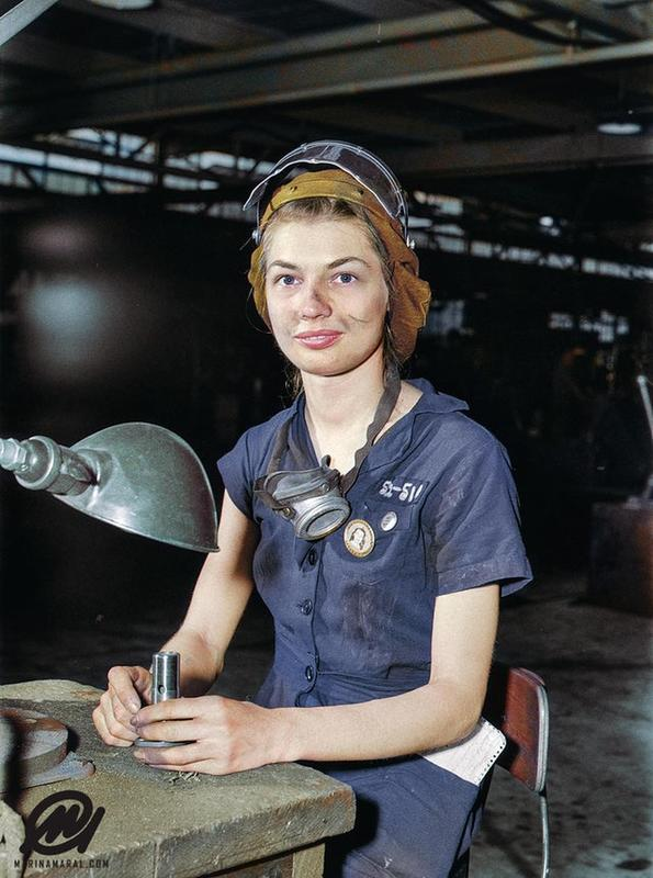A Young Woman Called Eunice Hancock With A Compressed Air Grinder In An Aircraft Plant