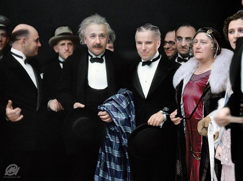 Charlie Chaplin And Albert Einstein At The Premiere Of City Lights