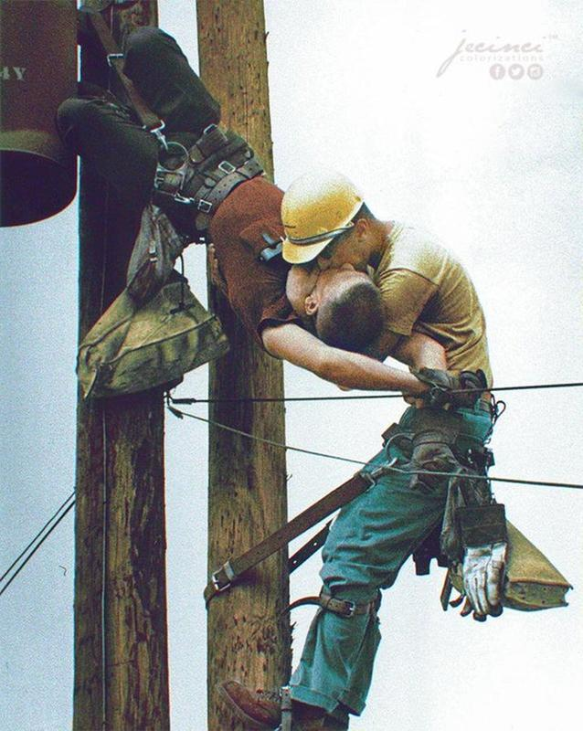 A Utility Worker Delivering The Kiss Of Life