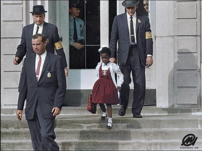 Little Ruby Bridges And Her U.S. Marshal Escorts