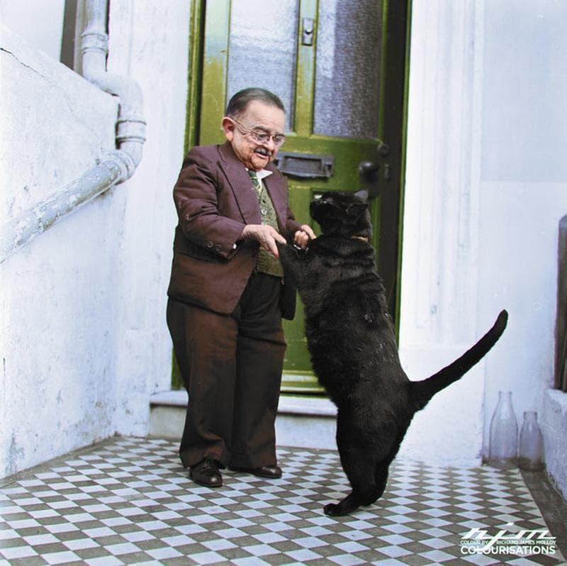 Un Hombre Diminuto Y Su Gato Gigante