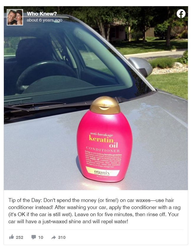 Hair Conditioner Will Make Your Car Look Shiny