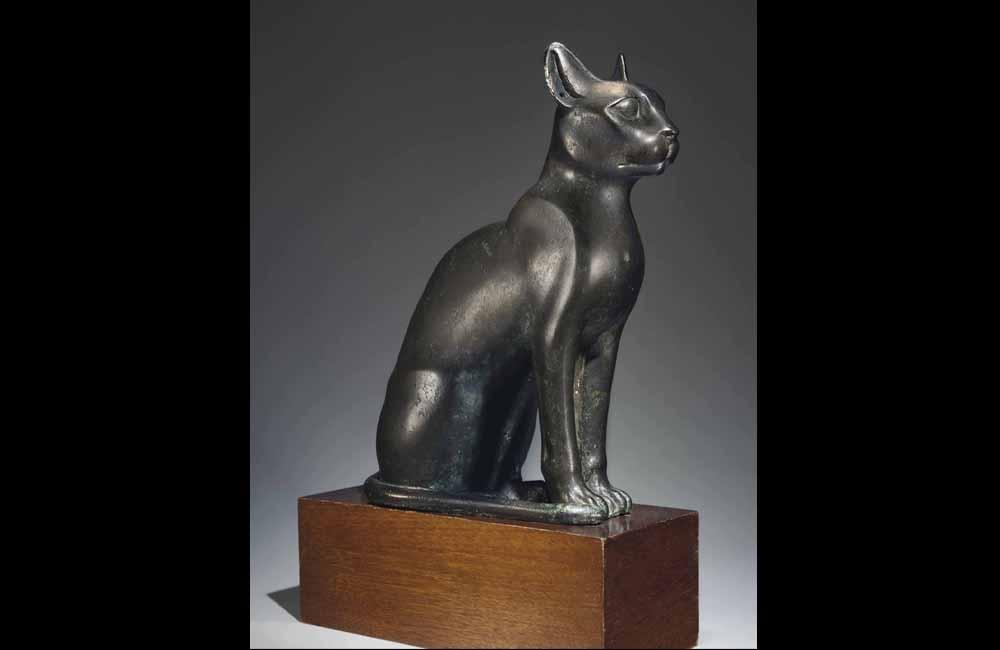 Egyptian Bronze Cat Statue