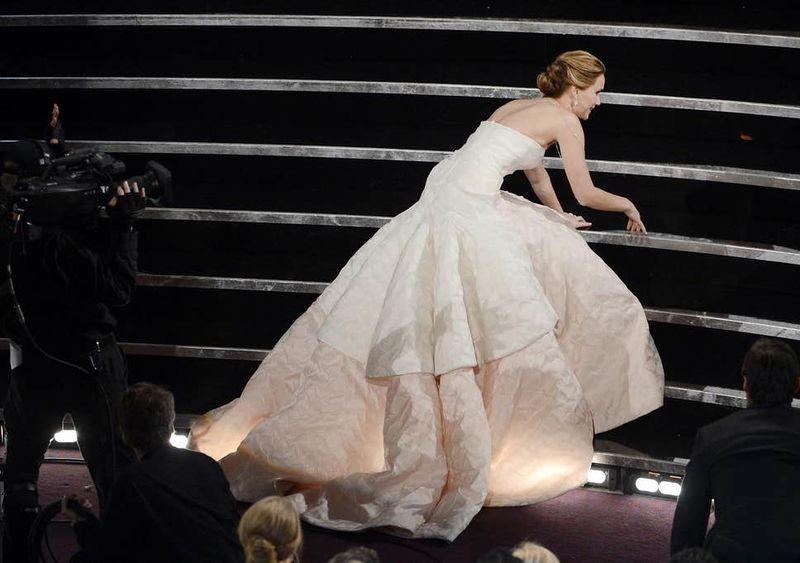 Jennifer Lawrence Trips Big Time