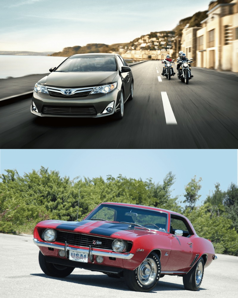 An Old Fast Car Vs. A Recent Luxurious Type